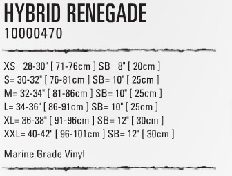 Renegade Sizing Chart